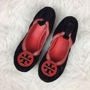 Tory Burch Black Velvet Ballet Flats Sz 37 Red